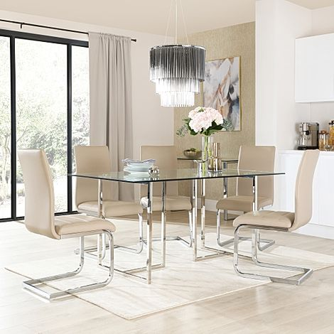 Lisbon Chrome and Glass Dining Table With 4 Perth Taupe Leather Chairs