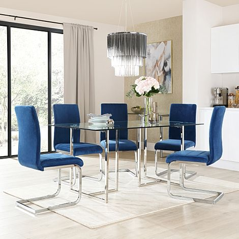 Lisbon Chrome and Glass Dining Table With 6 Perth Blue Velvet Chairs