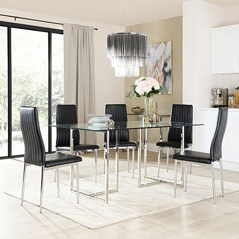 Lisbon Chrome and Glass Dining Table With 6 Leon Black Leather Chairs