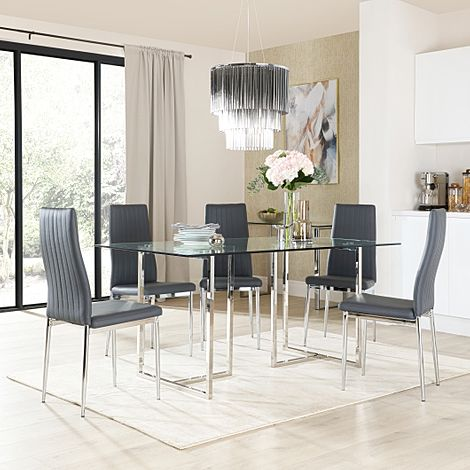 Lisbon Chrome and Glass Dining Table with 6 Leon Grey Leather Chairs