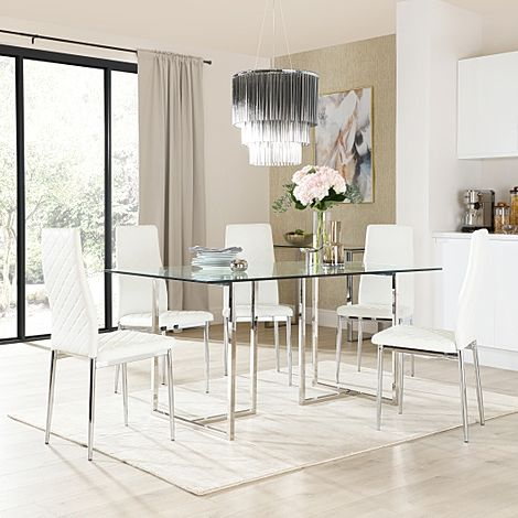 Lisbon Chrome and Glass Dining Table With 6 Renzo White Leather Chairs