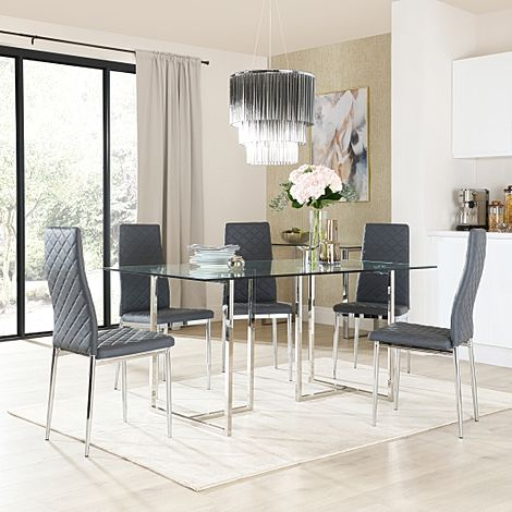Lisbon Chrome and Glass Dining Table with 6 Renzo Grey Leather Chairs