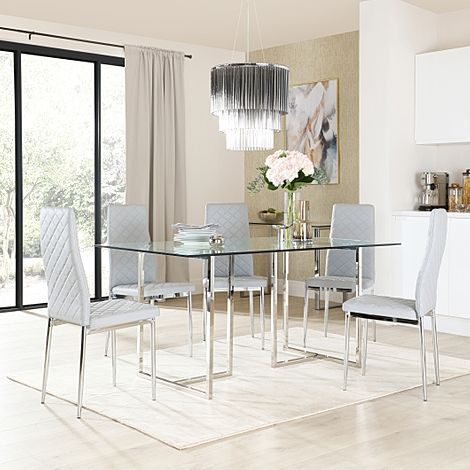 Lisbon Chrome and Glass Dining Table with 6 Renzo Light Grey Leather Chairs