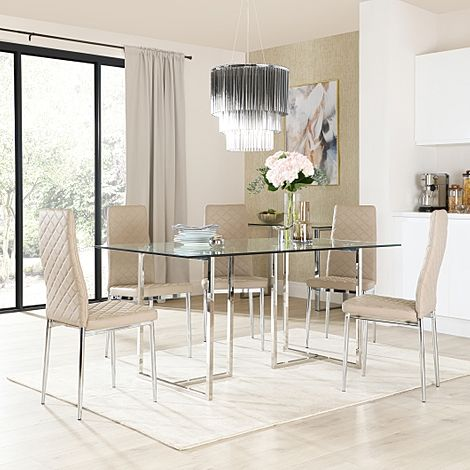 Lisbon Chrome and Glass Dining Table With 6 Renzo Taupe Leather Chairs
