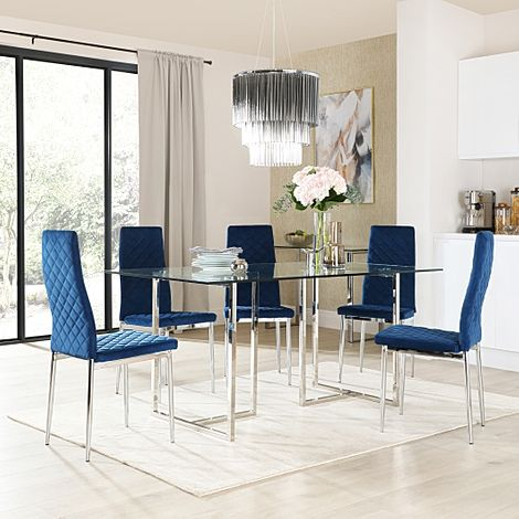 Lisbon Chrome and Glass Dining Table with 4 Renzo Blue Velvet Chairs