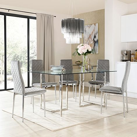 Lisbon Chrome and Glass Dining Table with 4 Renzo Grey Velvet Chairs