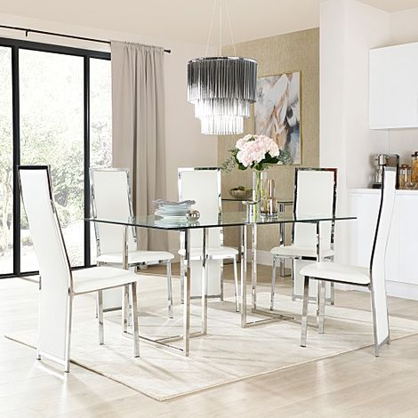 Lisbon Chrome and Glass Dining Table with 4 Celeste White Leather Chairs