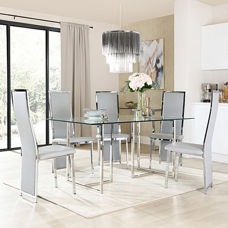 Lisbon Chrome and Glass Dining Table with 4 Celeste Light Grey Leather Chairs