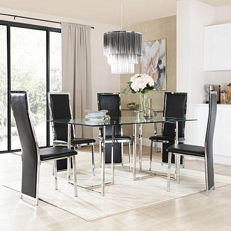 Lisbon Chrome and Glass Dining Table with 6 Celeste Black Leather Chairs