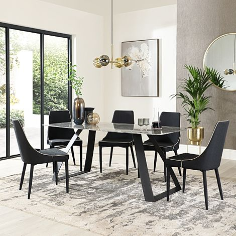 Ancona Marble Dining Table with 6 Modena Black Fabric Chairs