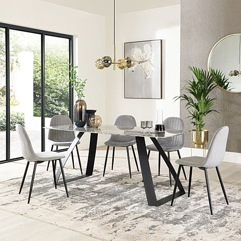 Ancona Marble Dining Table with 6 Brooklyn Grey Velvet Chairs