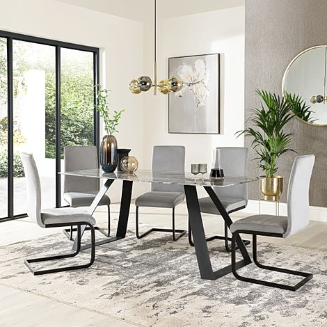 Ancona Marble Dining Table with 6 Perth Grey Velvet Chairs (Black Legs)