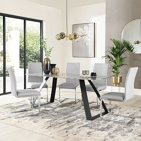 Ancona Marble Dining Table with 6 Perth Light Grey Leather Chairs