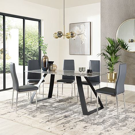 Ancona Marble Dining Table with 6 Leon Grey Leather Chairs