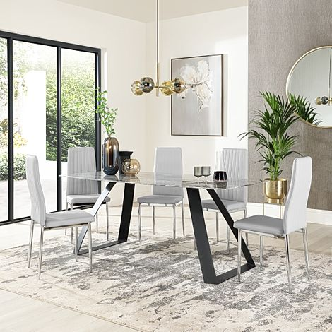 Ancona Marble Dining Table with 6 Leon Light Grey Leather Chairs