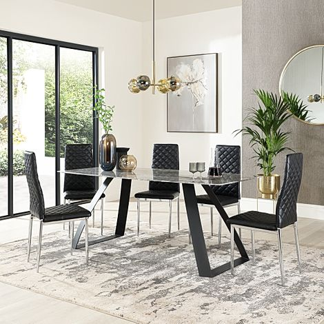 Ancona Marble Dining Table with 6 Renzo Black Leather Chairs