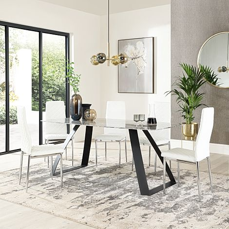 Ancona Marble Dining Table with 6 Renzo White Leather Chairs