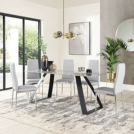 Ancona Marble Dining Table with 6 Renzo Light Grey Leather Chairs