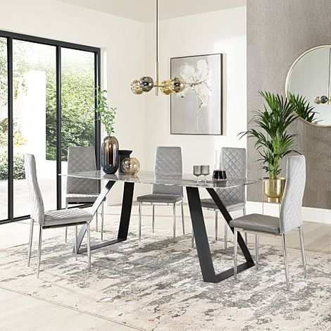 Ancona Marble Dining Table with 6 Renzo Grey Velvet Chairs