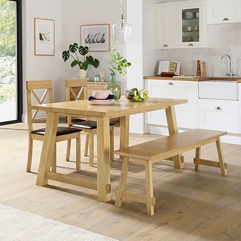 Croft Oak Dining Table and Bench with 2 Kendal Chairs (Brown Leather Seat Pads)