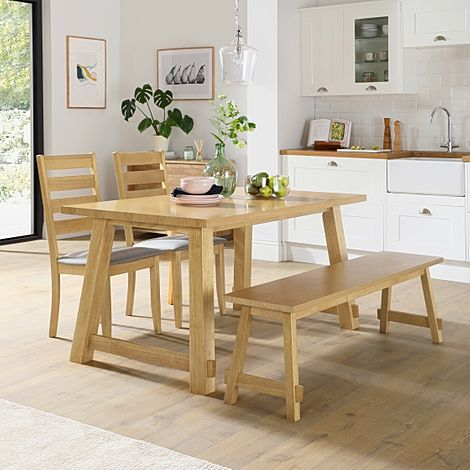 Croft Oak Dining Table and Bench with 2 Grove Chairs (Grey Fabric Seat Pads)