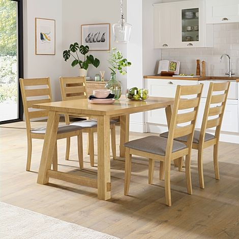 Croft Oak Dining Table with 4 Grove Chairs (Grey Fabric Seat Pads)