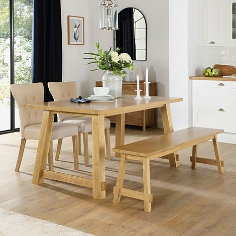 Croft Oak Dining Table and Bench with 2 Bewley Oatmeal Fabric Chairs