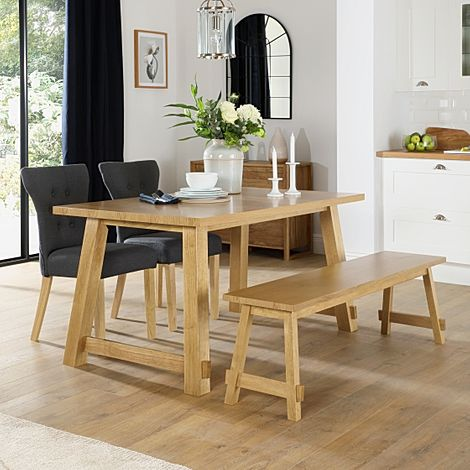 Croft Oak Dining Table and Bench with 2 Bewley Slate Fabric Chairs