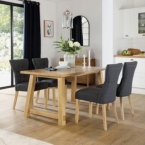 Croft Oak Dining Table with 6 Bewley Slate Fabric Chairs