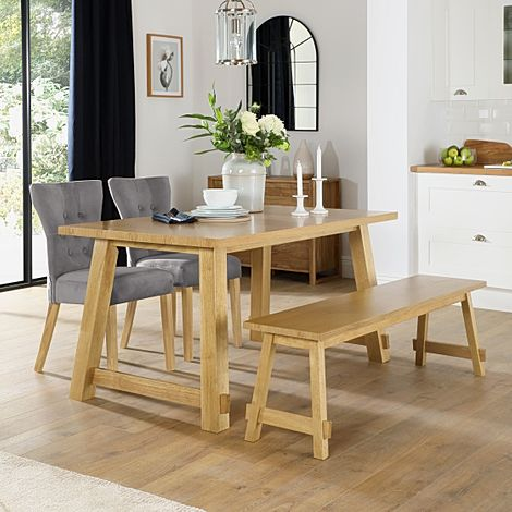 Croft Oak Dining Table and Bench with 4 Bewley Grey Velvet Chairs
