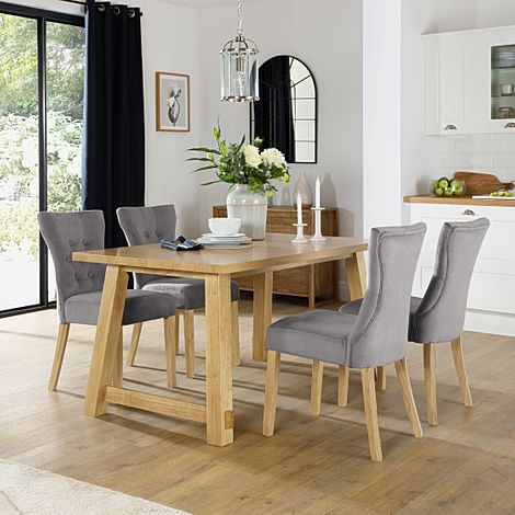 Croft Oak Dining Table with 6 Bewley Grey Velvet Chairs