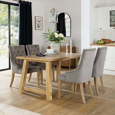 Croft Oak Dining Table with 6 Duke Grey Velvet Chairs