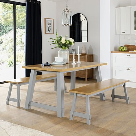 Croft Painted Grey and Oak Dining Table and 2 Benches
