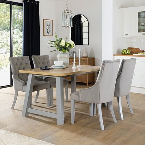 Croft Painted Grey and Oak Dining Table with 6 Duke Grey Velvet Chairs