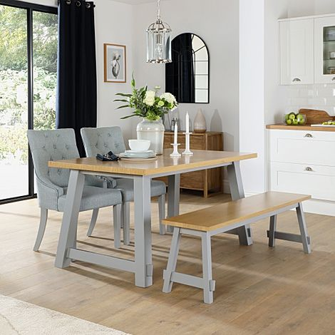 Croft Painted Grey and Oak Dining Table and Bench with 2 Duke Light Grey Fabric Chairs