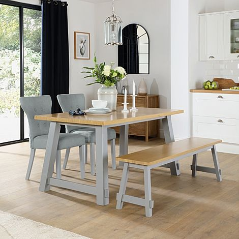 Croft Painted Grey and Oak Dining Table and Bench with 4 Bewley Light Grey Fabric Chairs