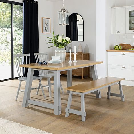 Croft Painted Grey and Oak Dining Table and Bench with 4 Pendle Grey Chairs