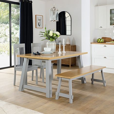 Croft Painted Grey and Oak Dining Table and Bench with 2 Oxford Grey Chairs