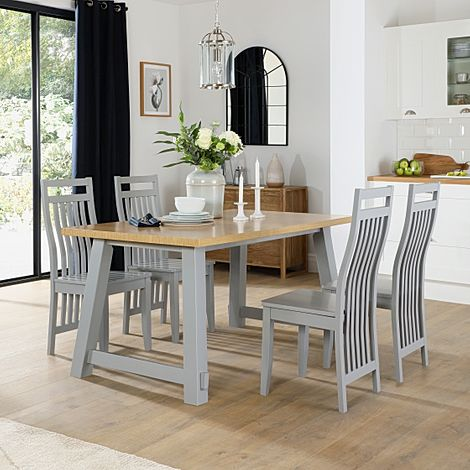 Croft Painted Grey and Oak Dining Table with 6 Java Grey Chairs