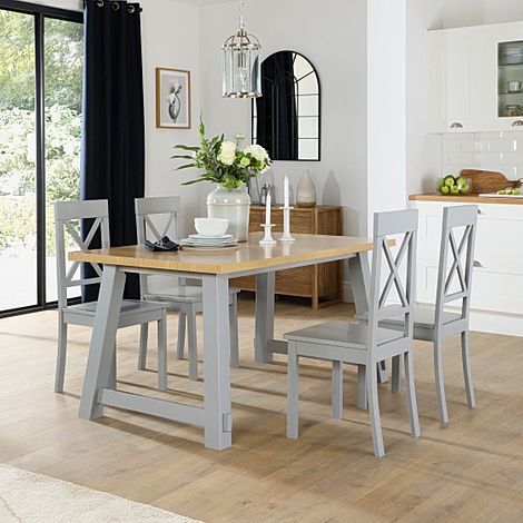 Croft Painted Grey and Oak Dining Table with 6 Kendal Grey Chairs