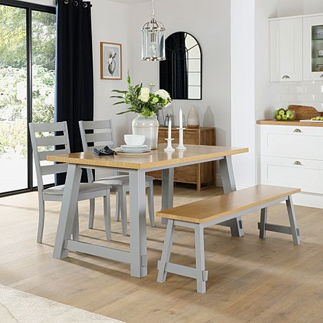 Croft Painted Grey and Oak Dining Table and Bench with 2 Grove Chairs (Grey Fabric Seat Pads)