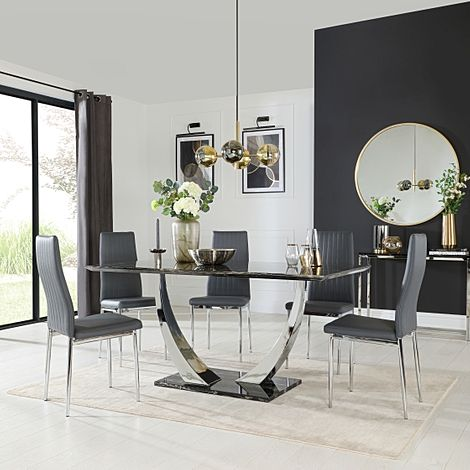 Peake Black Marble and Chrome Dining Table with 4 Leon Grey Leather Chairs