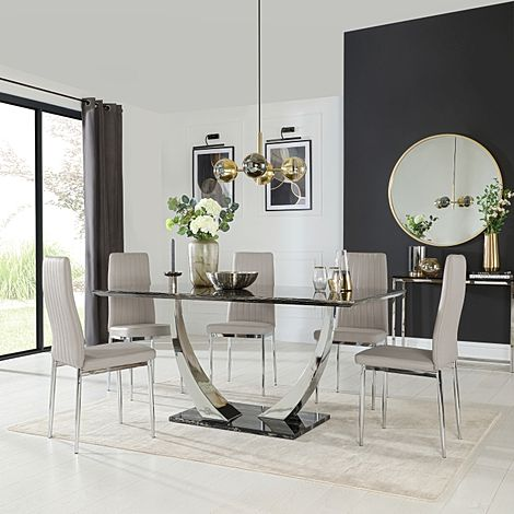 Peake Black Marble and Chrome Dining Table with 4 Leon Taupe Leather Chairs