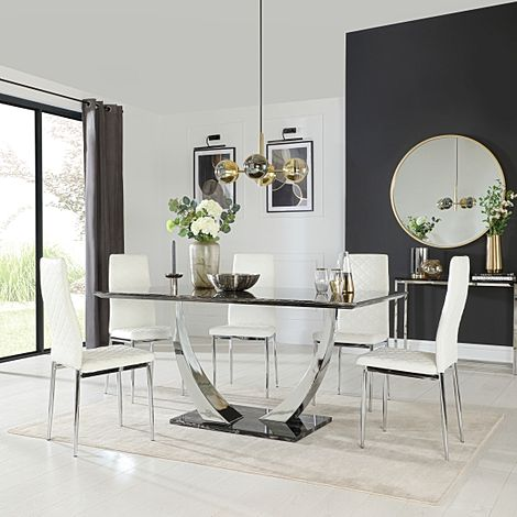 Peake Black Marble and Chrome Dining Table with 6 Renzo White Leather Chairs