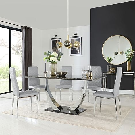Peake Black Marble and Chrome Dining Table with 4 Renzo Light Grey Leather Chairs