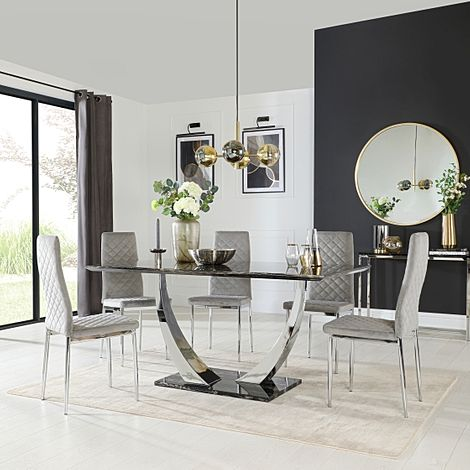 Peake Black Marble and Chrome Dining Table with 6 Renzo Grey Velvet Chairs