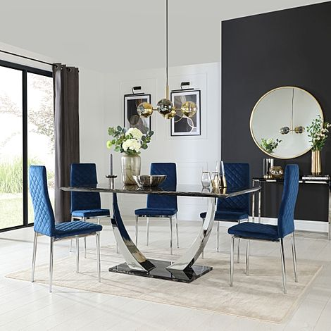 Peake Black Marble and Chrome Dining Table with 6 Renzo Blue Velvet Chairs