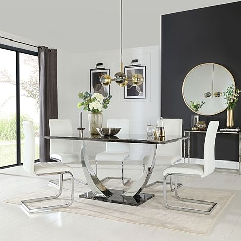Peake Black Marble and Chrome Dining Table with 4 Perth White Leather Chairs