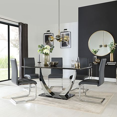 Peake Black Marble and Chrome Dining Table with 6 Perth Grey Leather Chairs