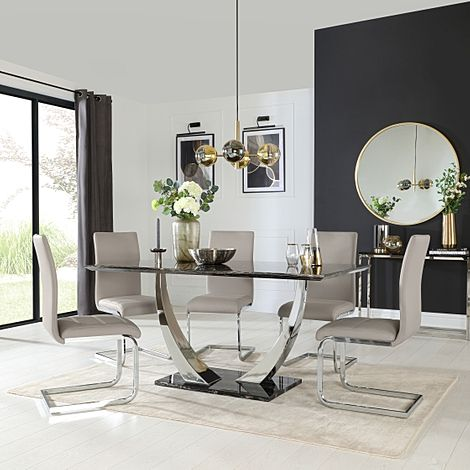 Peake Black Marble and Chrome Dining Table with 6 Perth Stone Grey Leather Chairs